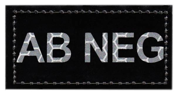 Blood Type Patch - Infrared - AB NEG - Hook backing