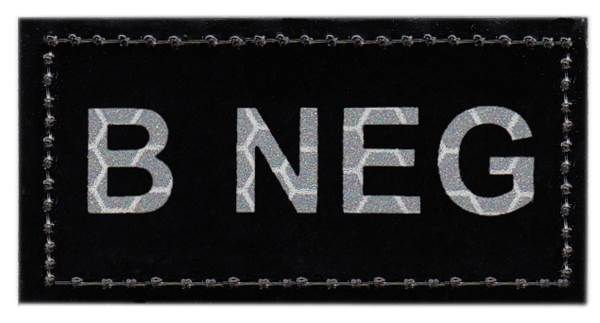 Blood Type Patch - Infrared - B NEG - Hook backing
