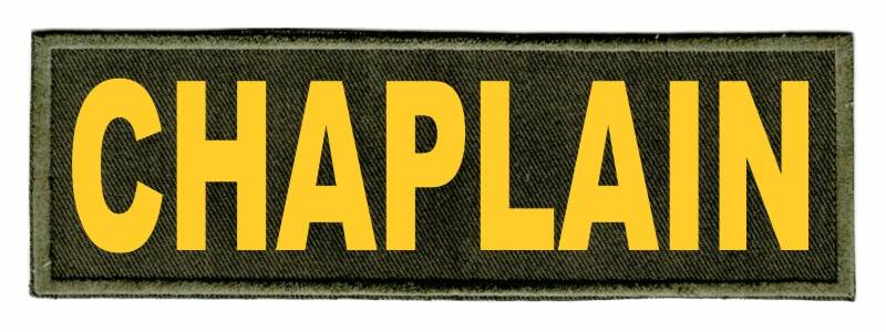 CHAPLAIN Identification Patch - 6x2 - Gold Lettering - OD Green Twill Backing