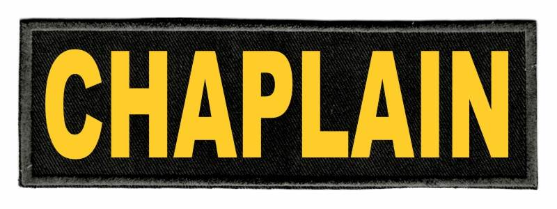 CHAPLAIN Identification Patch - 6x2 - Gold Lettering - Black Twill Backing