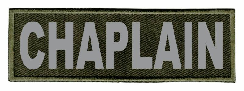 CHAPLAIN Identification Patch - 6x2 - Gray Lettering - OD Green Twill Backing