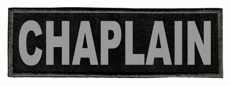 CHAPLAIN Identification Patch - 6x2 - Gray Lettering - Black Twill Backing