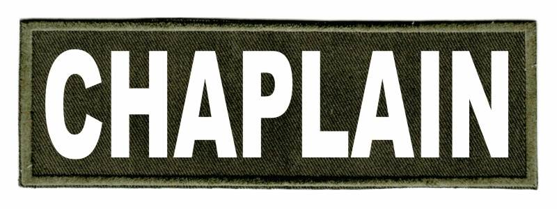 CHAPLAIN Identification Patch - 6x2 - White Lettering - OD Green Twill Backing