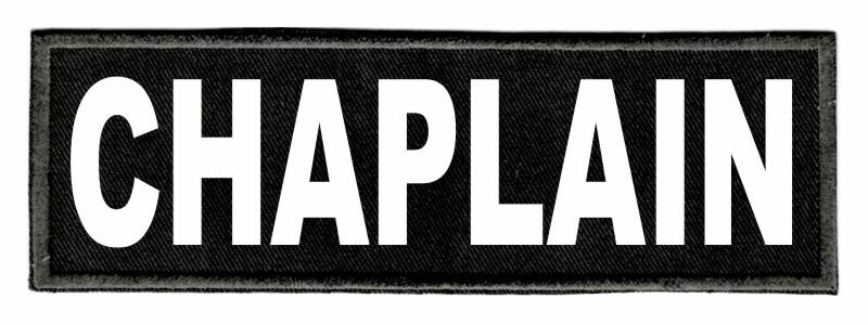CHAPLAIN Identification Patch - 6x2 - White Lettering - Black Twill Backing