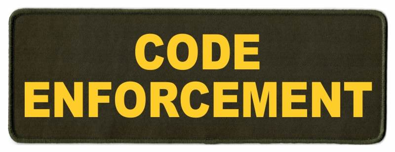 CODE ENFORCEMENT ID Patch - 11x4 - Gold Lettering - OD Green Twill Backing