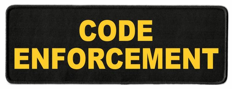 CODE ENFORCEMENT ID Patch - 11x4 - Gold Lettering - Black Twill Backing