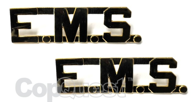 Collar Insignia - 1/2-inch high - E.M.S. - Gold - Pair