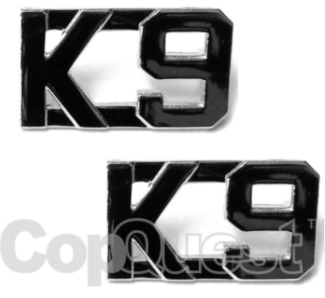 Collar Insignia - 1/2-inch high - K-9 - Nickel - Pair