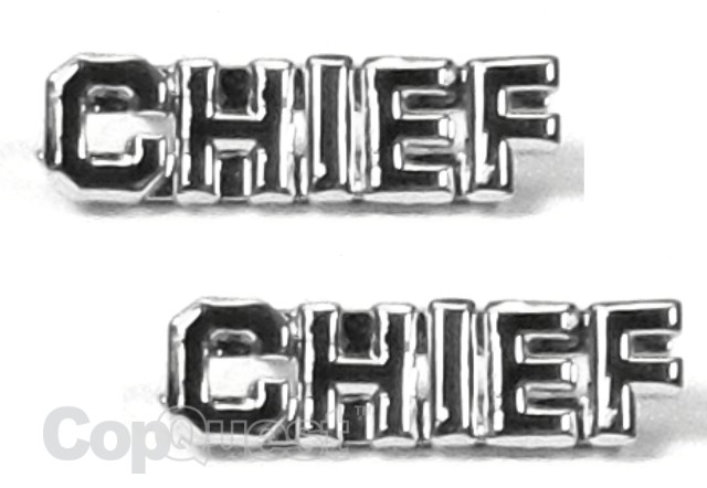 Collar Insignia - 1/4-inch high - Pair - CHIEF - Nickel