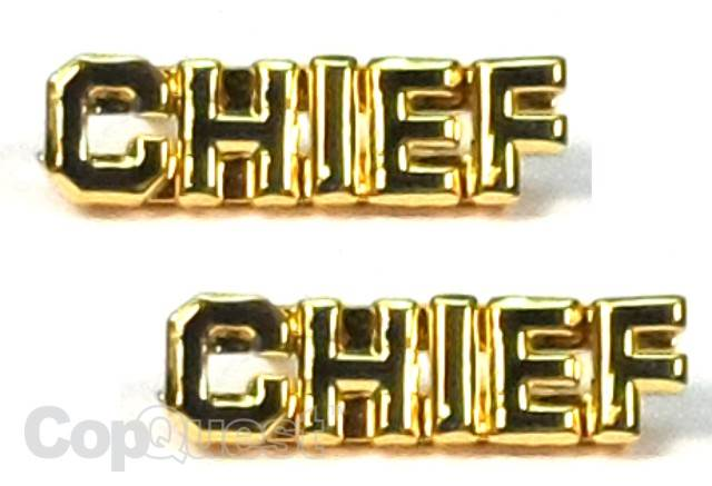Collar Insignia - 1/4-inch high - Pair - CHIEF - Gold