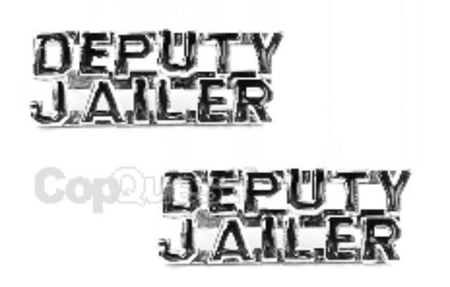 Collar Insignia - 1/4-inch high - Pair - DEPUTY JAILER - Nickel