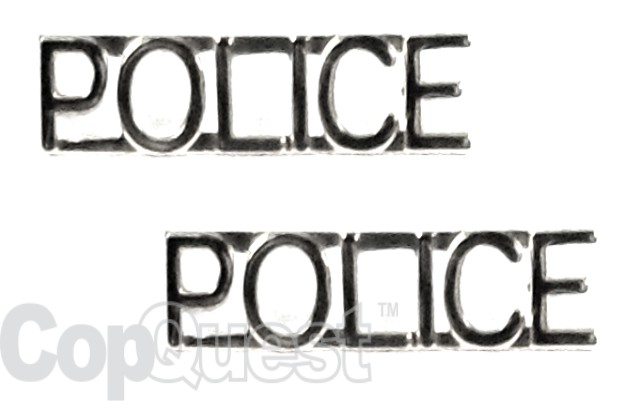 Collar Insignia - 1/4-inch high - Pair - POLICE - Nickel
