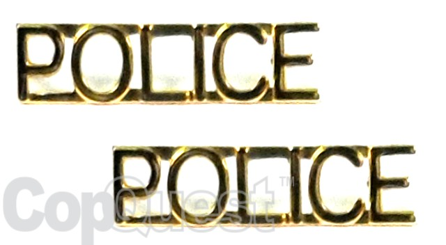 Collar Insignia - 1/4-inch high - Pair - POLICE - Gold