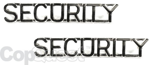Collar Insignia - 1/4-inch high - Pair - SECURITY - Nickel