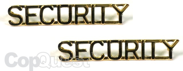 Collar Insignia - 1/4-inch high - Pair - SECURITY - Gold