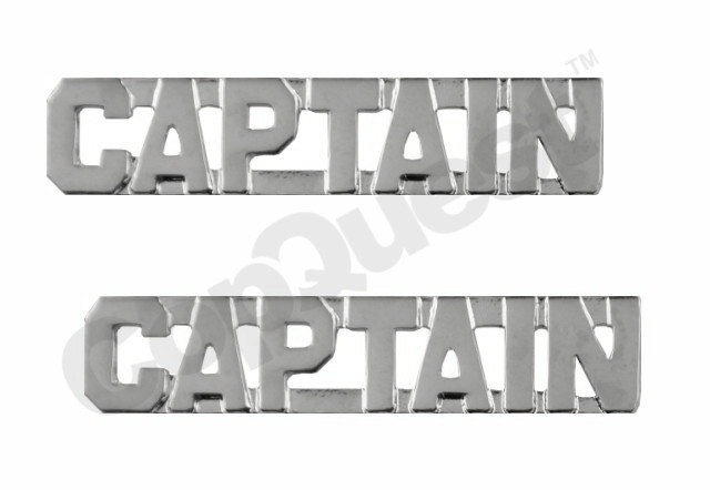 Collar Insignia - 3/8-inch high - Pair - CAPTAIN - Nickel