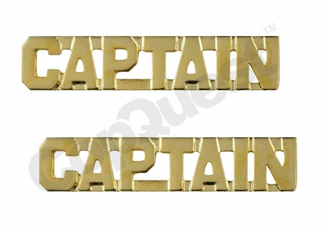 Collar Insignia - 3/8-inch high - Pair - CAPTAIN - Gold