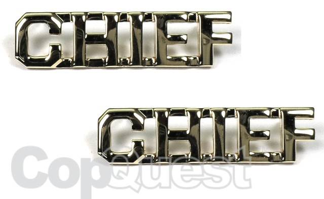 Collar Insignia - 3/8-inch high - Pair - CHIEF - Nickel