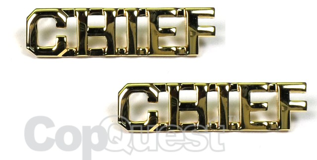 Collar Insignia - 3/8-inch high - Pair - CHIEF - Gold