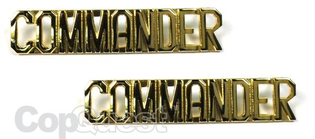 Collar Insignia - 3/8-inch high - Pair - COMMANDER - Gold