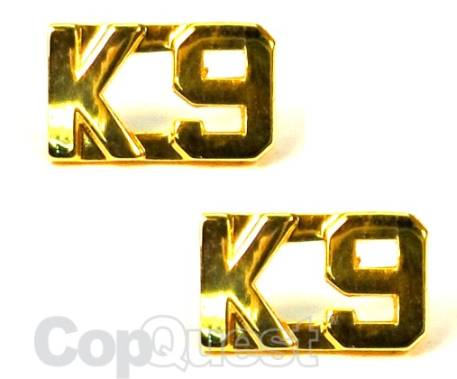 Collar Insignia - 3/8-inch high - Pair - K9 - Gold