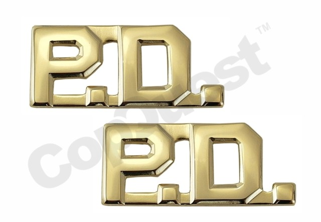 Collar Insignia - 3/8-inch high - Pair - PD - Gold