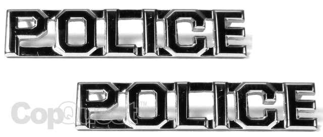 Collar Insignia - 3/8-inch high - Pair - POLICE - Nickel