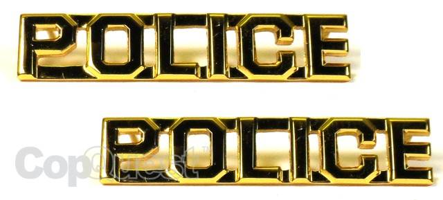 Collar Insignia - 3/8-inch high - Pair - POLICE - Gold