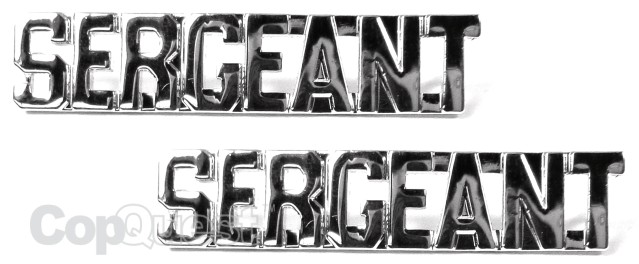Collar Insignia - 3/8-inch high - Pair - SERGEANT - Nickel