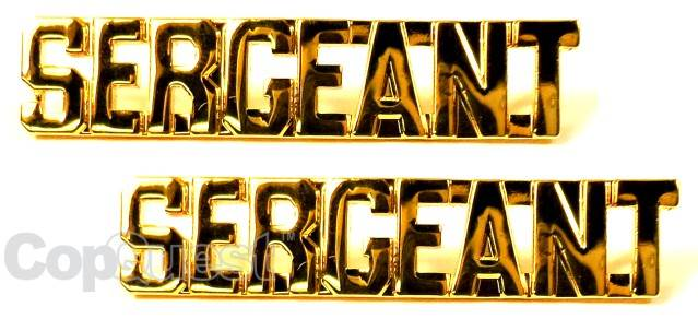 Collar Insignia - 3/8-inch high - Pair - SERGEANT - Gold