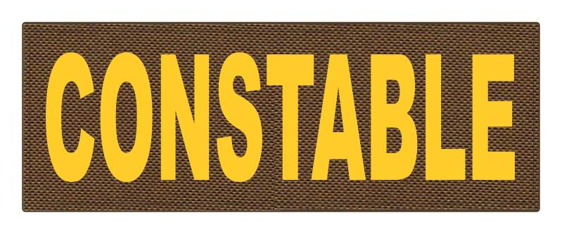 CONSTABLE ID Patch - 11x4 - Gold Lettering - Coyote Backing - Hook Fabric