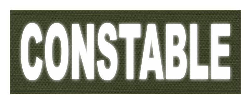 CONSTABLE ID Patch - 11x4 - Reflective White Lettering - OD Green Backing - Hook Fabric