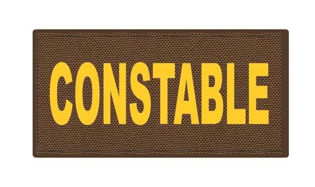 CONSTABLE ID Patch - 4x2 - Gold Lettering - Coyote Backing - Hook Fabric