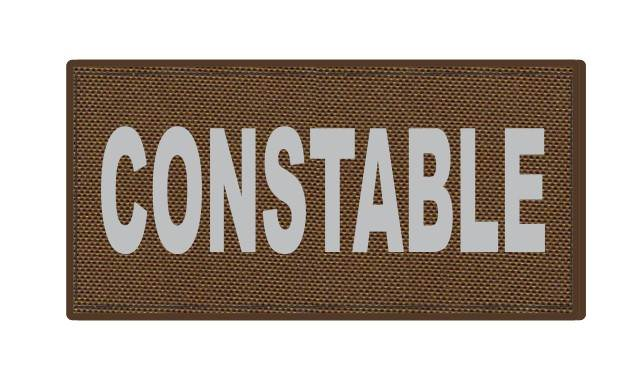 CONSTABLE ID Patch - 4x2 - Gray Lettering - Coyote Backing - Hook Fabric