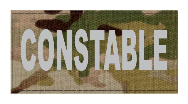 CONSTABLE ID Patch - 4x2 - Gray Lettering - Multicam Backing - Hook Fabric
