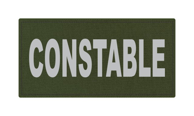 CONSTABLE ID Patch - 4x2 - Gray Lettering - OD Green Backing - Hook Fabric
