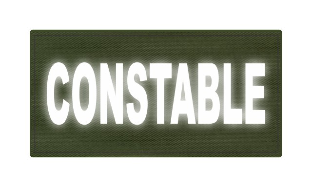 CONSTABLE ID Patch - 4x2 - Reflective White Lettering - OD Green Backing - Hook Fabric