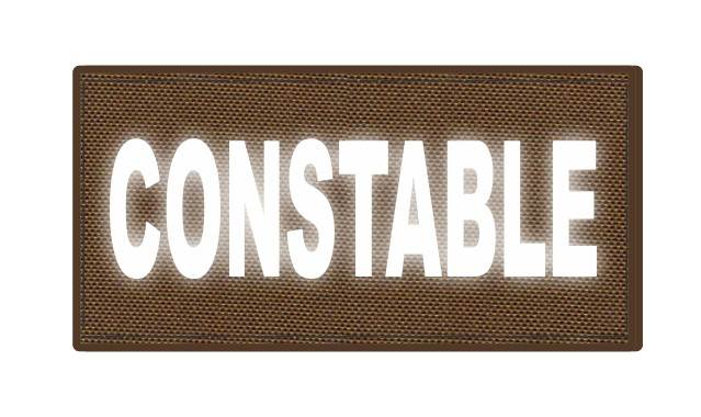 CONSTABLE ID Patch - 4x2 - Reflective White Lettering - Coyote Backing - Hook Fabric