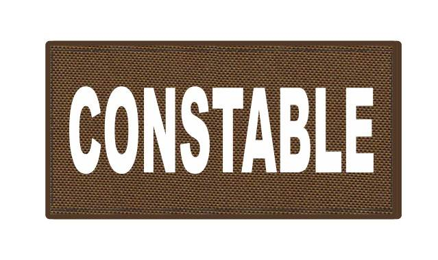 CONSTABLE ID Patch - 4x2 - White Lettering - Coyote Backing - Hook Fabric