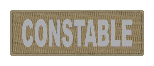 CONSTABLE ID Patch - 6x2 - Gray Lettering - Tan Backing - Hook Fabric