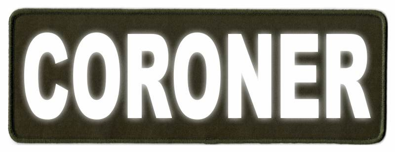 CORONER Identification Patch - 11x4 - Reflective Lettering - OD Green Twill Backing