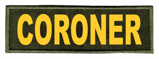 CORONER Identification Patch - 6x2 - Gold Lettering - OD Green Twill Backing