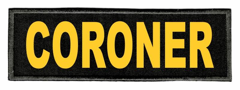 CORONER Identification Patch - 6x2 - Gold Lettering - Black Twill Backing