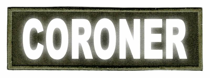 CORONER Identification Patch - 6x2 - Reflective Lettering - OD Green Twill Backing