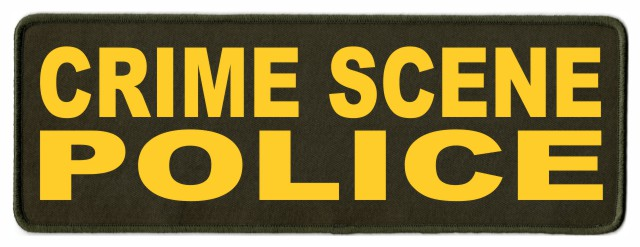 CRIME SCENE POLICE Patch - 11x4 - Gold Lettering - OD Green Twill Backing