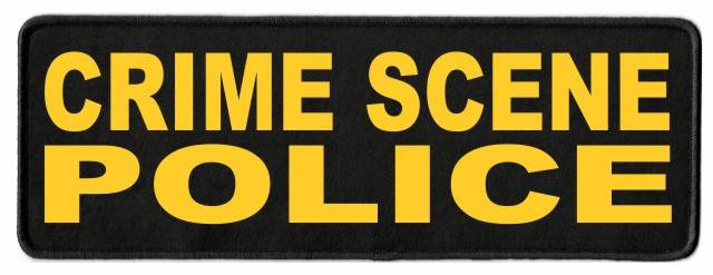 CRIME SCENE POLICE Patch - 11x4 - Gold Lettering - Black Twill Backing