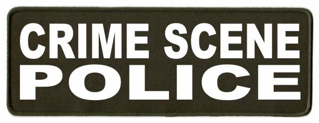CRIME SCENE POLICE Patch - 11x4 - White Lettering - OD Green Twill Backing