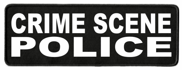 CRIME SCENE POLICE Patch - 11x4 - White Lettering - Black Twill Backing