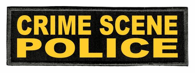 CRIME SCENE POLICE Patch - 6x2 - Gold Lettering - Black Twill Backing