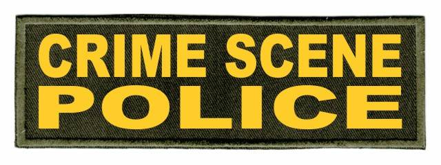 CRIME SCENE POLICE Patch - 6x2 - Gold Lettering - OD Green Twill Backing